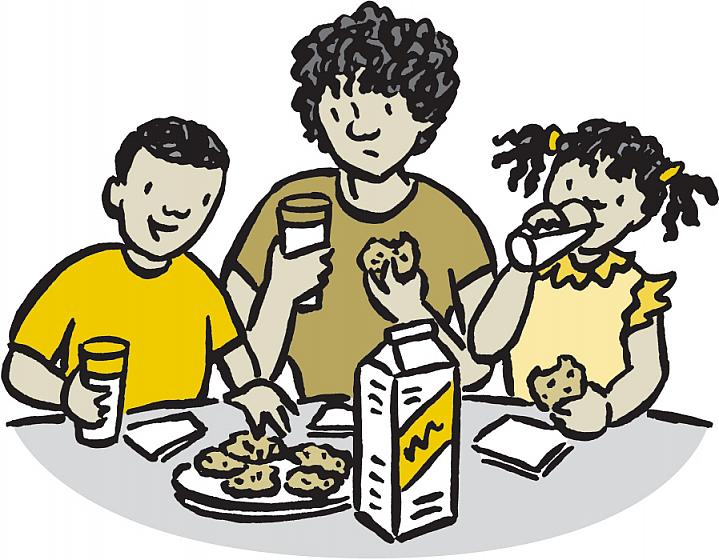 Illustration of mom looking at milk skeptically as kids have milk and cookies.