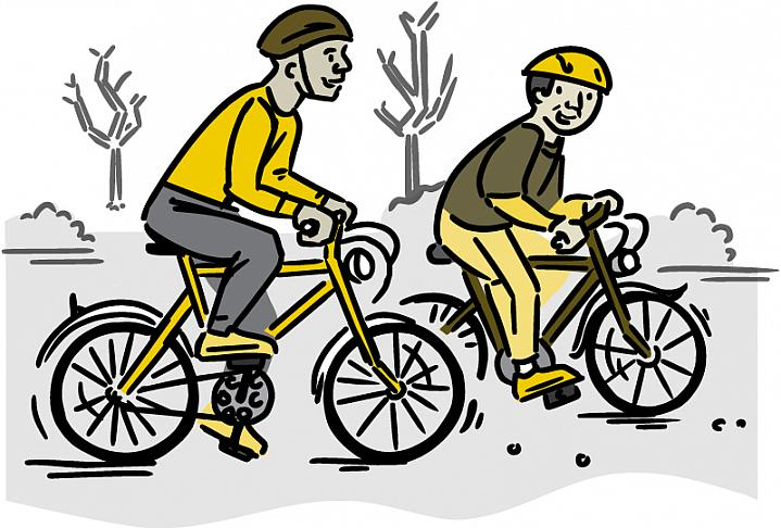 Illustration of two men bicycling.