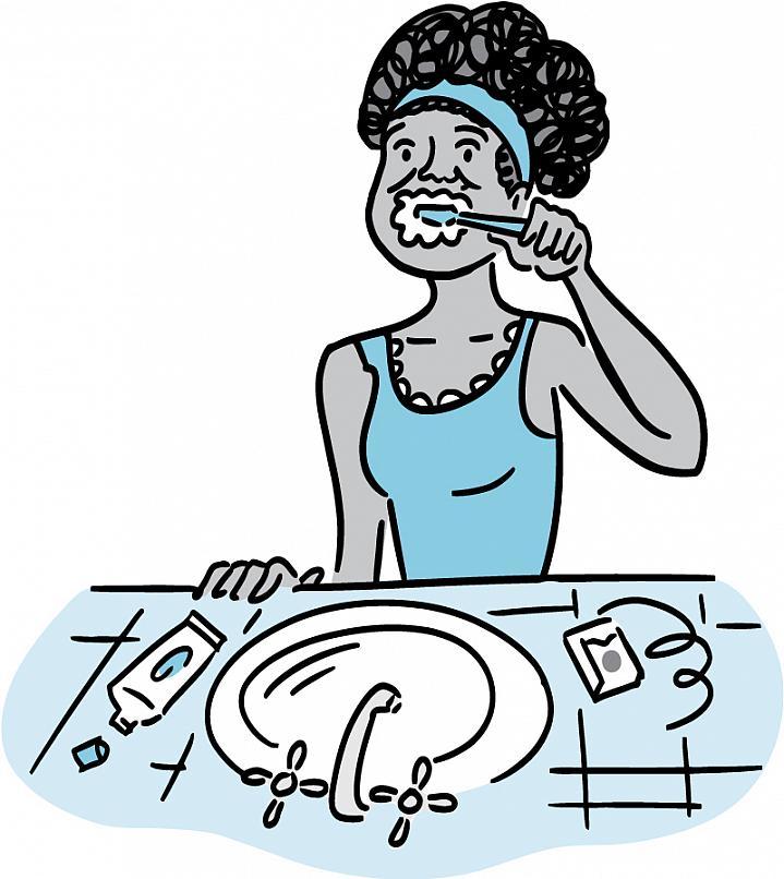 Illustration of woman brushing her teeth.