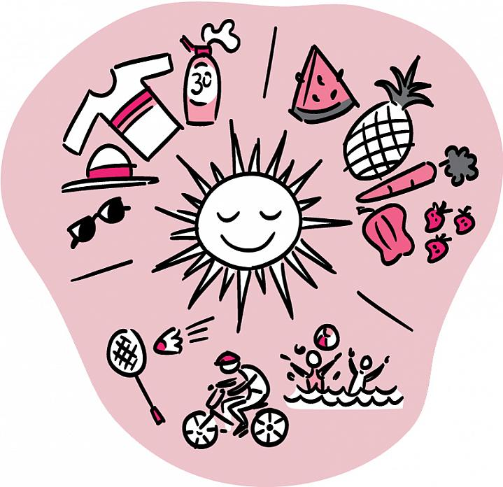 Illustration of sun surrounded by fresh produce, sun protection gear and people having fun outdoors.