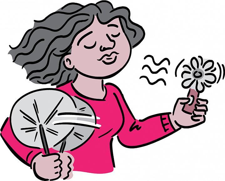 Cartoon of a woman fanning herself.