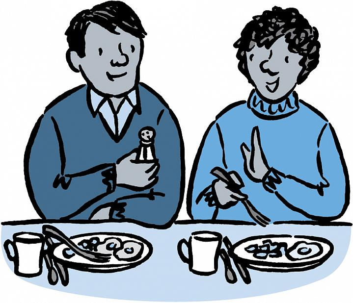 Illustration of person declining to take a salt shaker.