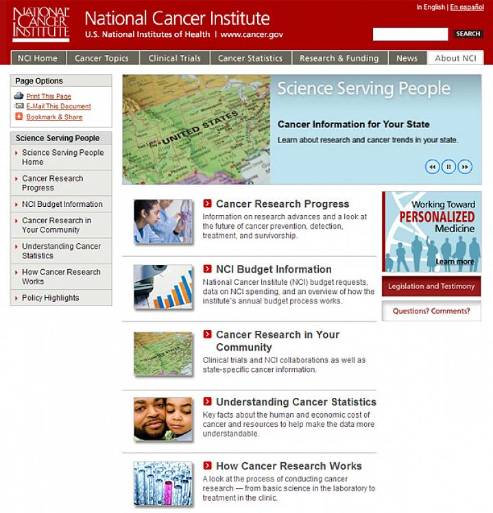 Screenshot of the Science Serving People web site