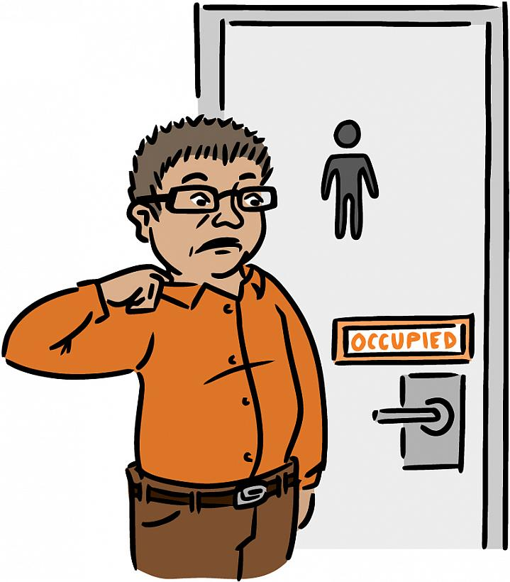 """Illustration of a man anxiously waiting to use an """"occupied"""" restroom."""