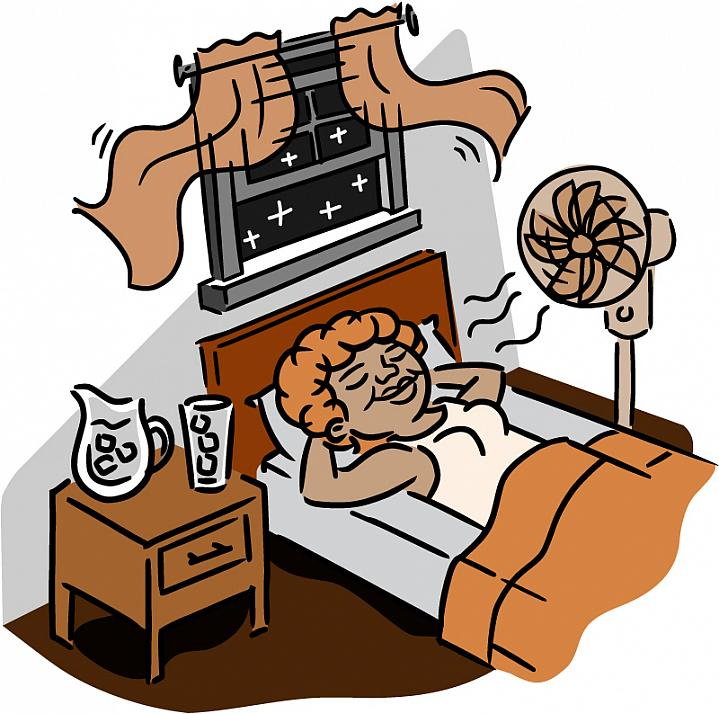 Illustration of a sleeping older woman staying cool with a fan, ice water and open window.