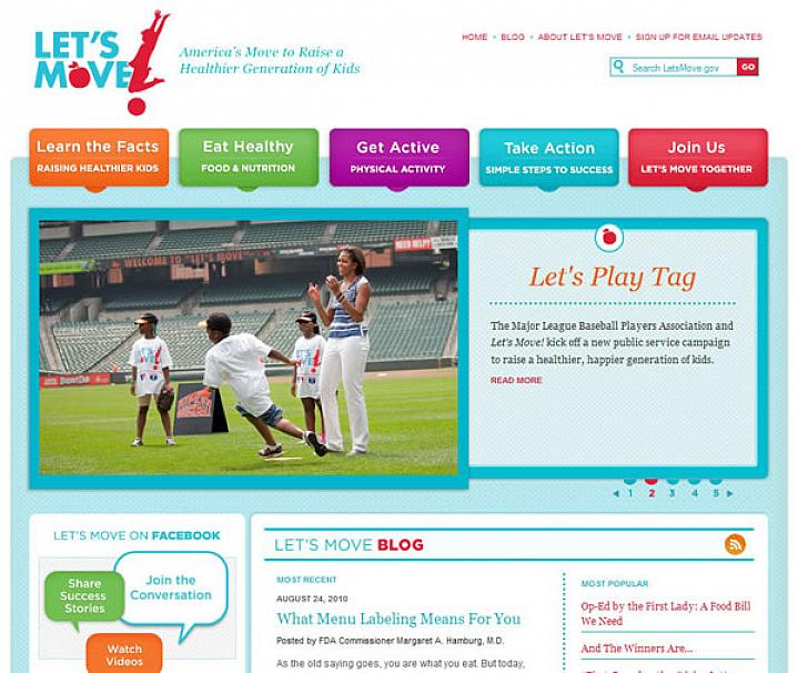 Screenshot of the Let's Move! web site
