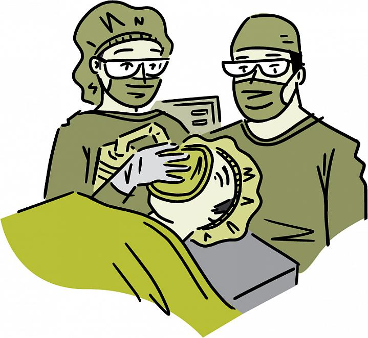 Illustration of a patient receiving anesthesia in the operating room.