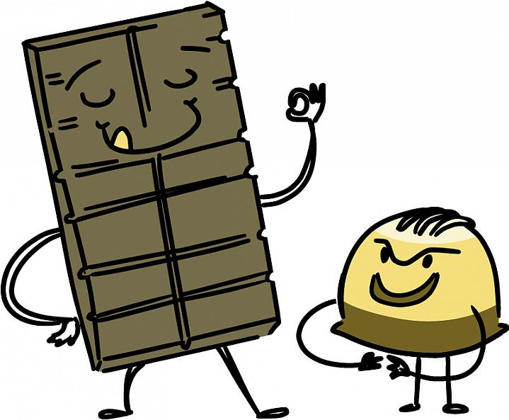 Illustration of a smiling dark chocolate bar and a sinister chocolate truffle.