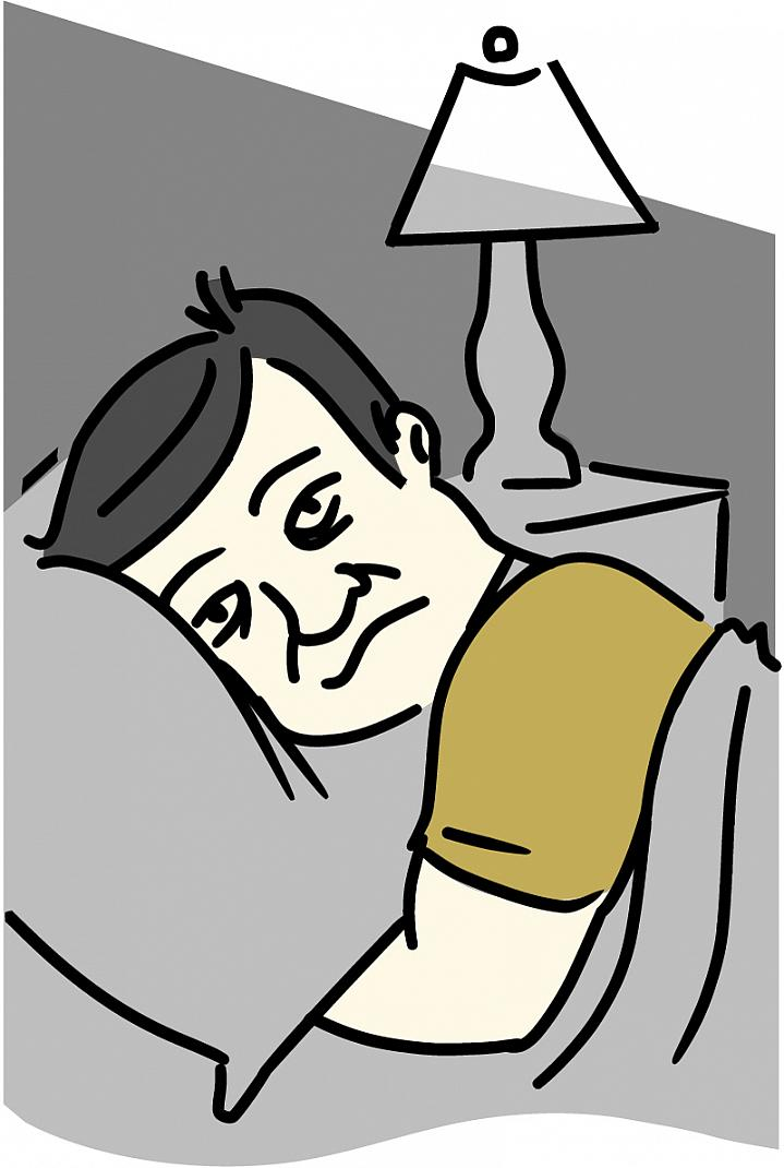 Illustration of a miserable-looking man, head on a pillow, unable to fall asleep.