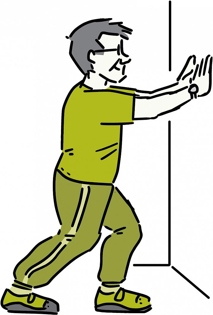 Illustration of a man stretching his leg muscles.
