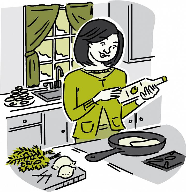 """Illustration of a woman in a kitchen using """"good"""" fat or low-fat foods."""