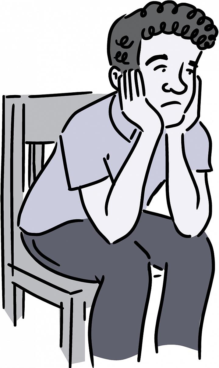 Illustration of a man sitting in a chair with his chin on his hands.