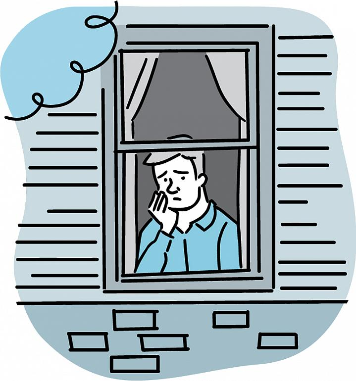 Illustration of a worried man looking out of a window.