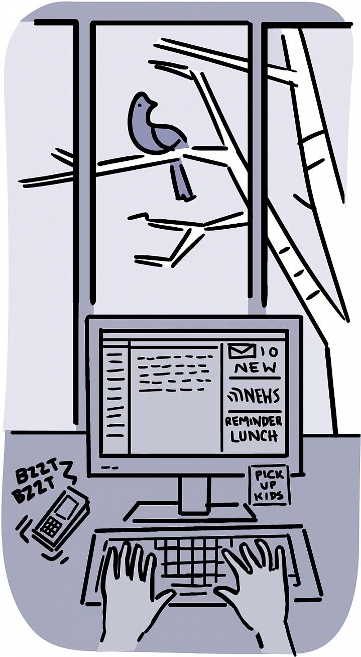 Illustration of a busy computer workstation and a peaceful window view of bird on a tree.