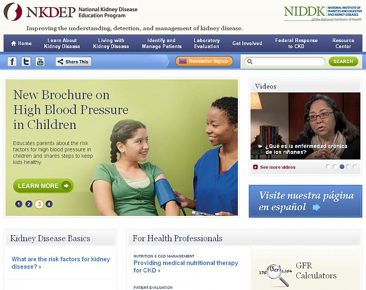 Screen capture of the homepage for National Kidney Disease Education Program.