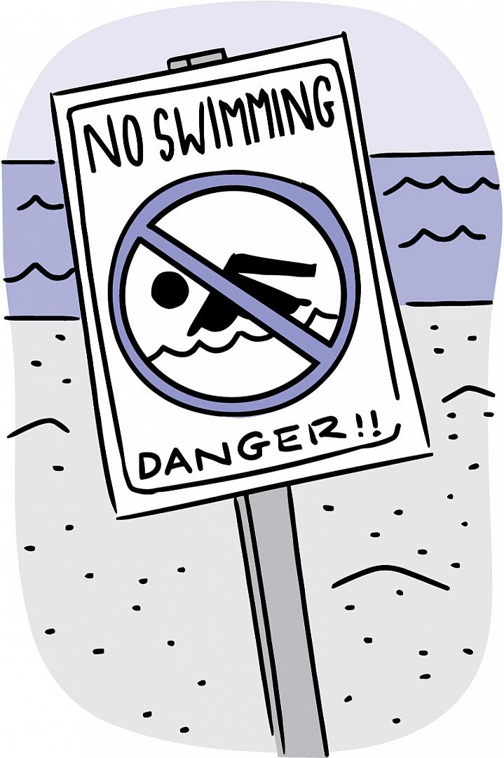 Illustration of a No Swimming sign at the beach.