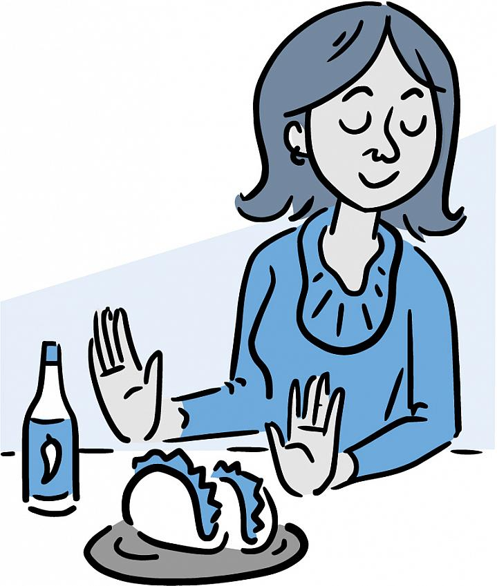 Illustration of a woman pushing away spicy tacos and hot sauce.