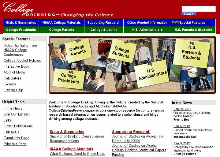 Screen capture of the homepage for the NIAAA College Drinking website.