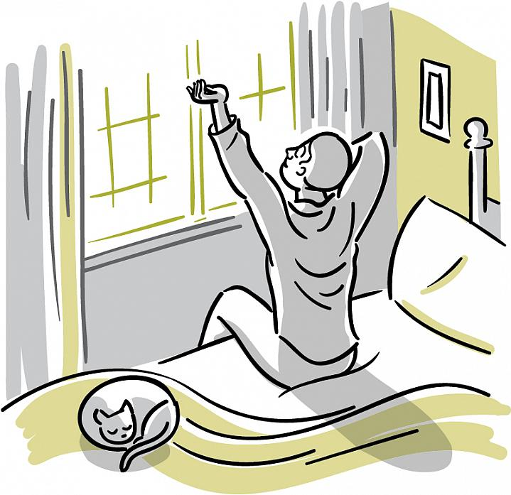 Illustration of a man waking up and stretching before a sun-filled window.