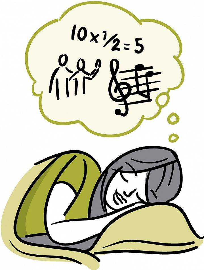 Illustration of a sleeping woman thinking about music, math and friends.