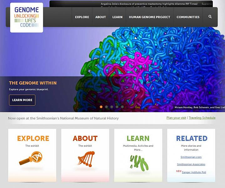 Screen capture of the homepage for the Genome: Unlocking Life's Code website.