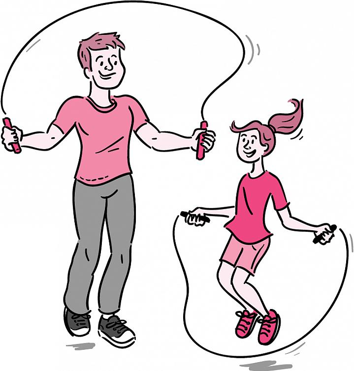 Illustration of a dad and daughter jumping rope.