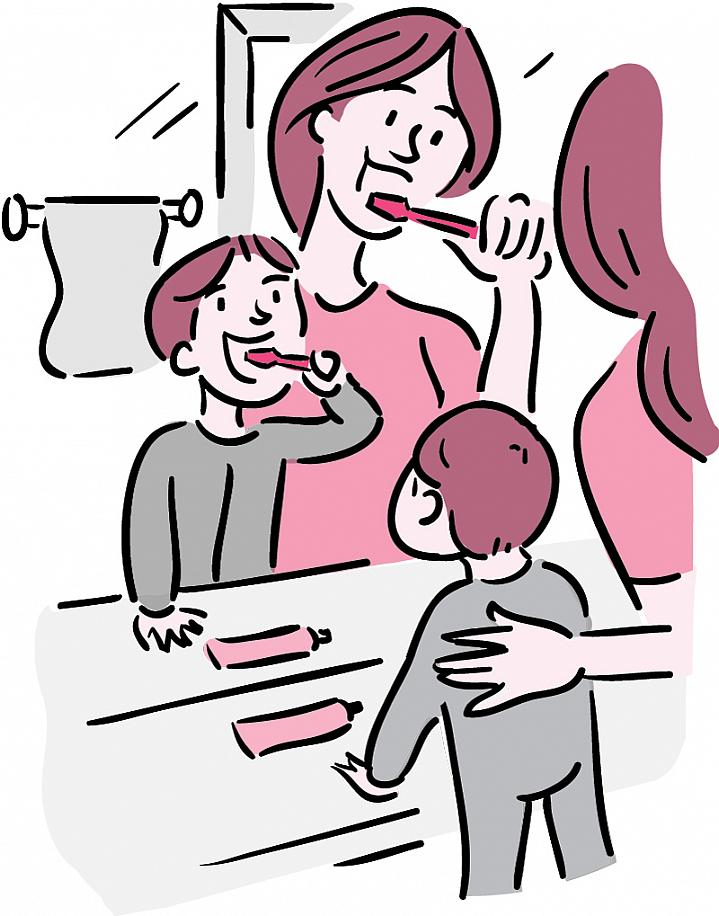 Illustration of a mother and toddler brushing their teeth in front of a mirror.