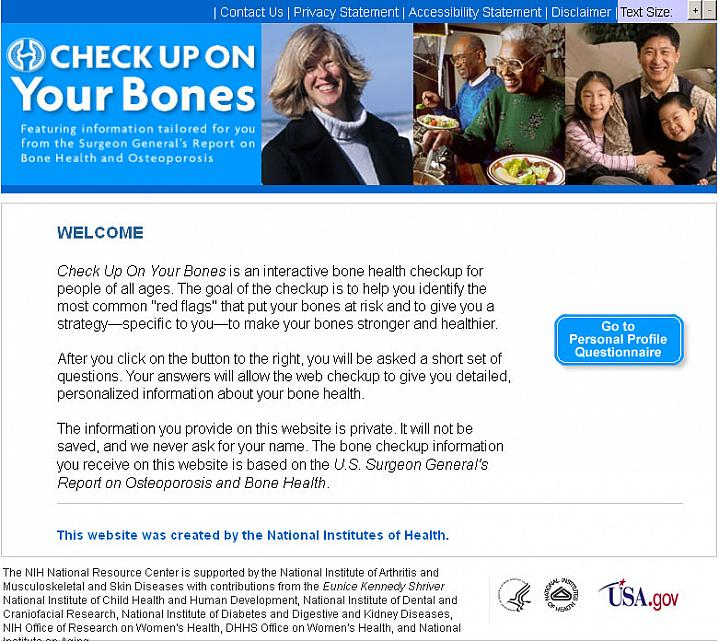 Screen capture of the homepage for Check Up on Your Bones.