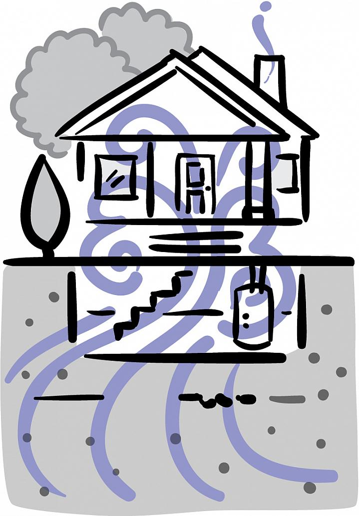 Illustration of swirling gas seeping from the ground into a basement and throughout a home.