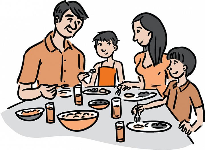 Illustration of a family eating dinner, including a thin young girl with very short hair who's recovering after cancer therapy.