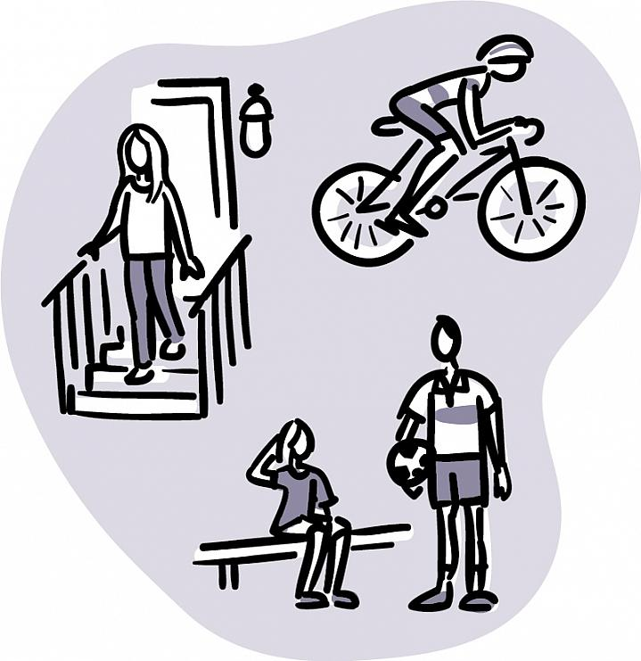 Illustration of a cyclist wearing a helmet; a woman holding a railing while descending stairs; and a soccer player sitting on a bench and touching her head.