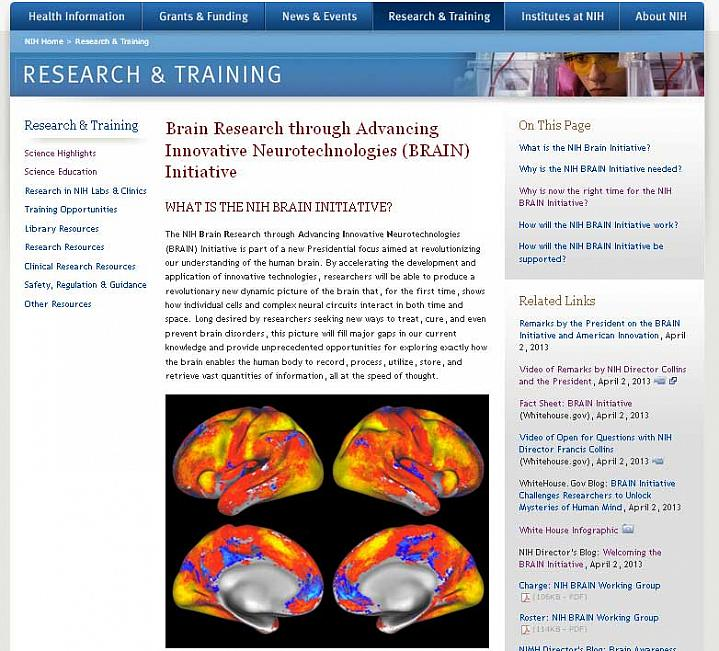 Screen capture of the homepage for the NIH BRAIN Initiative website.