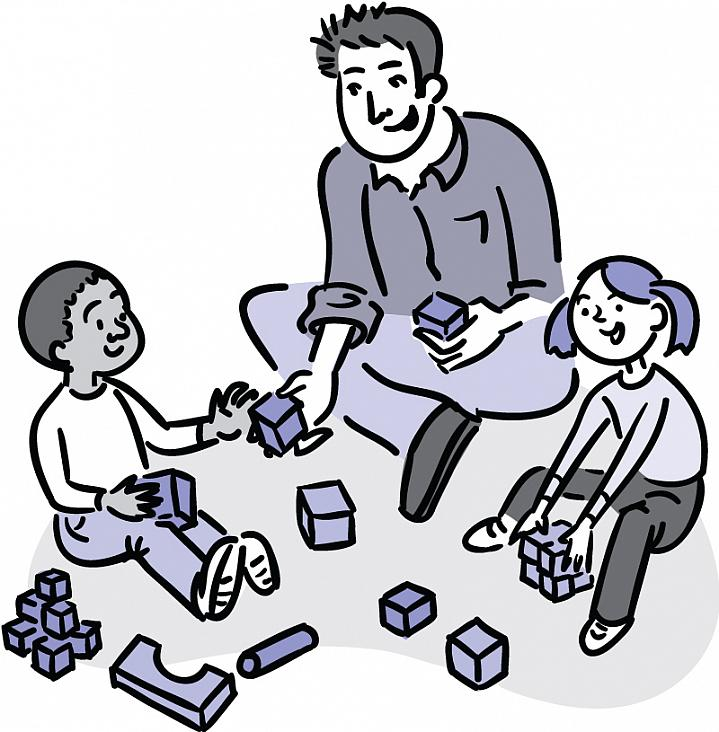 Illustration of a 2 preschoolers and a man playing with toy blocks.