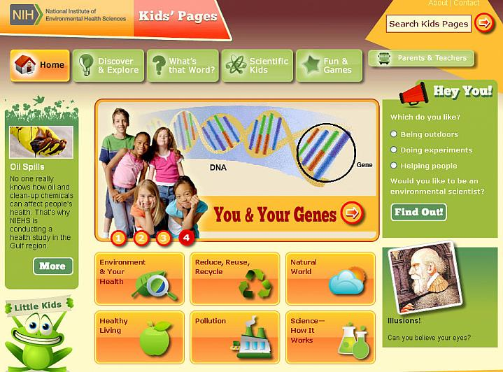 Screen capture of the homepage for the NIEHS Kids' Pages website.