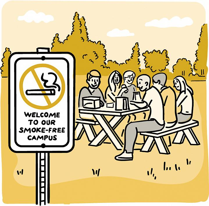 """Cartoon of a """"No-Smoking"""" sign in an open outdoor area, with nearby people enjoying a picnic lunch."""