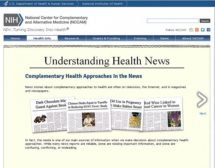 Screen capture of the homepage for the Understanding Health News website.