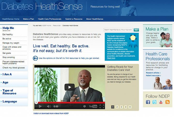 Screen capture of the homepage for the Diabetes HealthSense website.