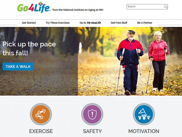 Screen capture of the homepage for the Go4Life website.