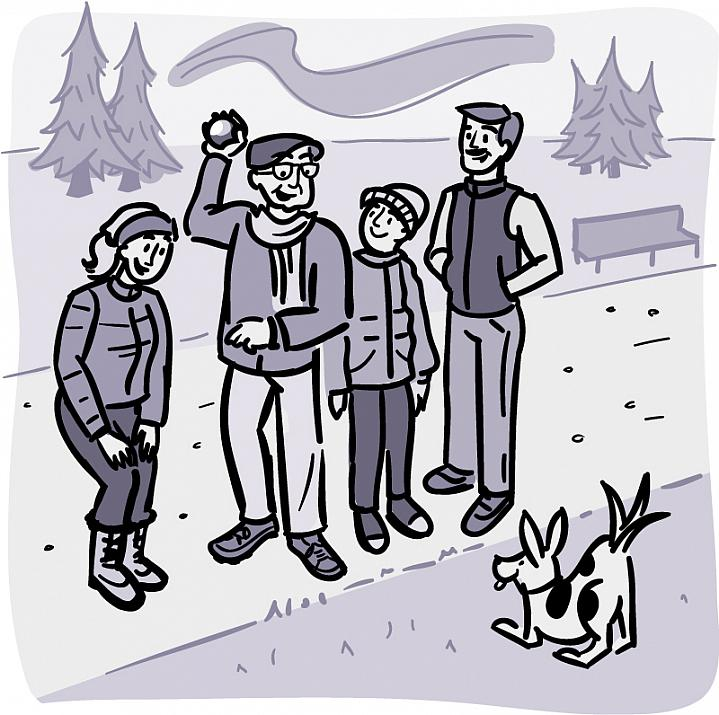 Illustration of an older man with his family and pet dog on a walking trail.