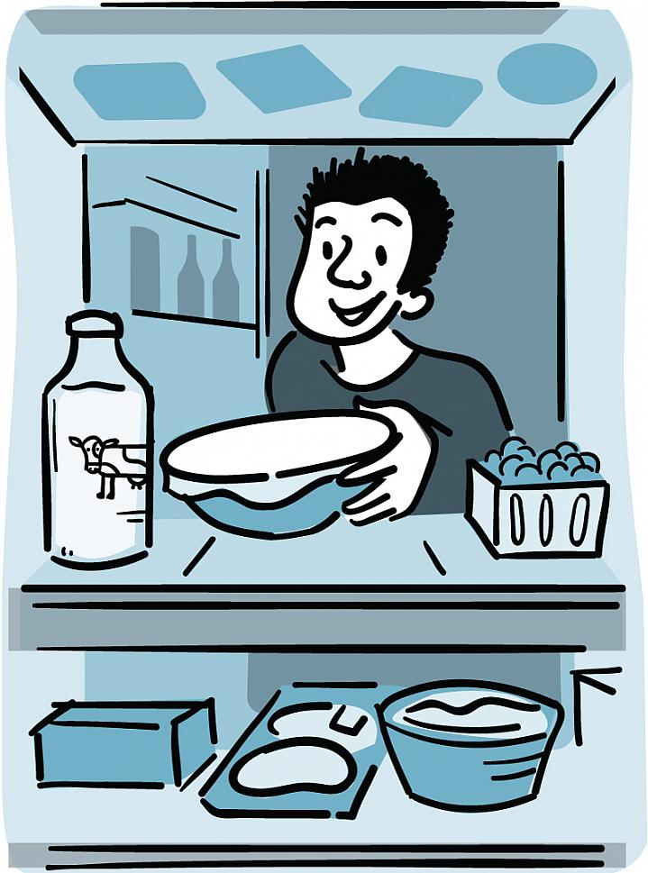 Illustration of a man placing food in the refrigerator.