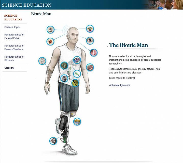 Screen capture of the homepage for the Bionic Man website.