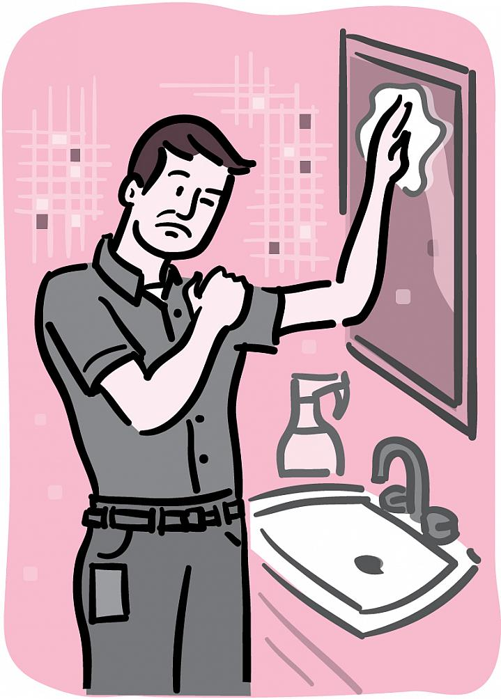 Illustration of a man rubbing his shoulder in pain as he reaches up to clean a bathroom mirror.