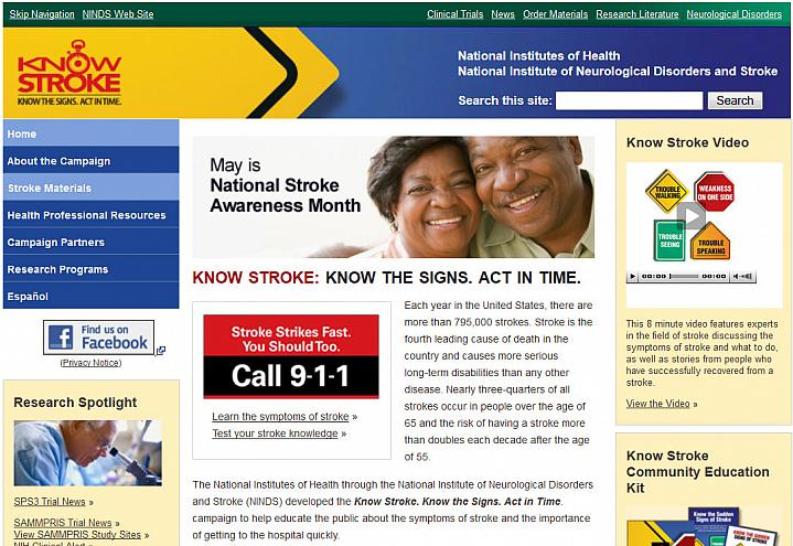 Screen capture of the homepage for the Know Stroke website.