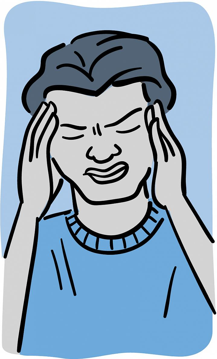 Illustration of a man with a pained expression holding his hands to his forehead.