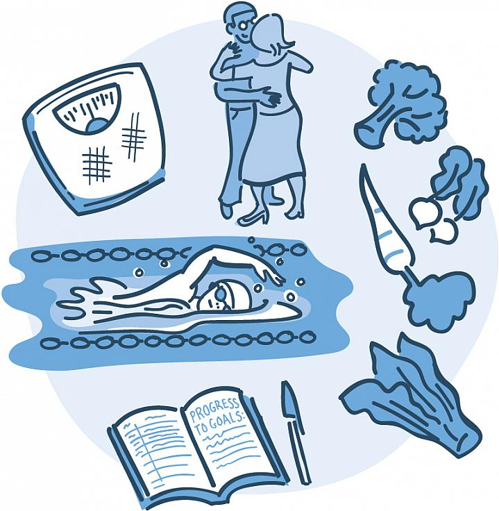 Composite illustration of a couple dancing, a woman swimming, a scale, diary, and vegetables.