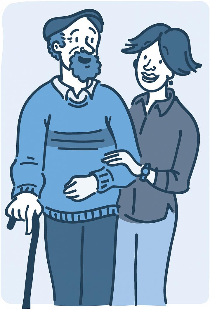 Illustration of an older man standing with a cane and a woman holding his arm to aid balance.