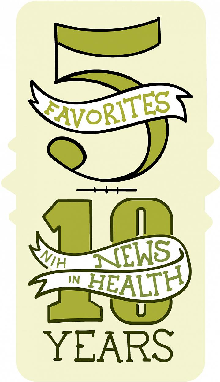 Illustration that reads: 5 favorites, 10 years.
