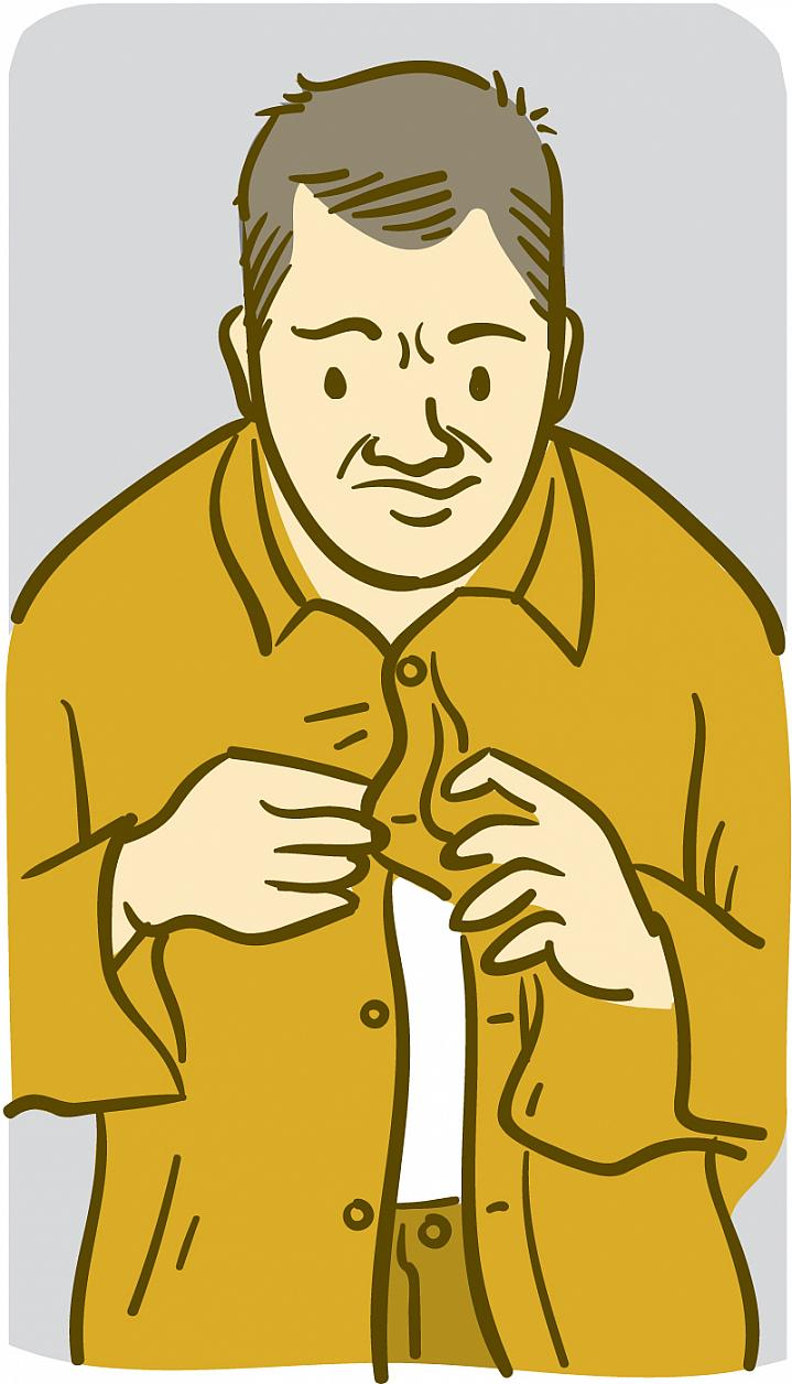 Illustration of a man having trouble buttoning his shirt.