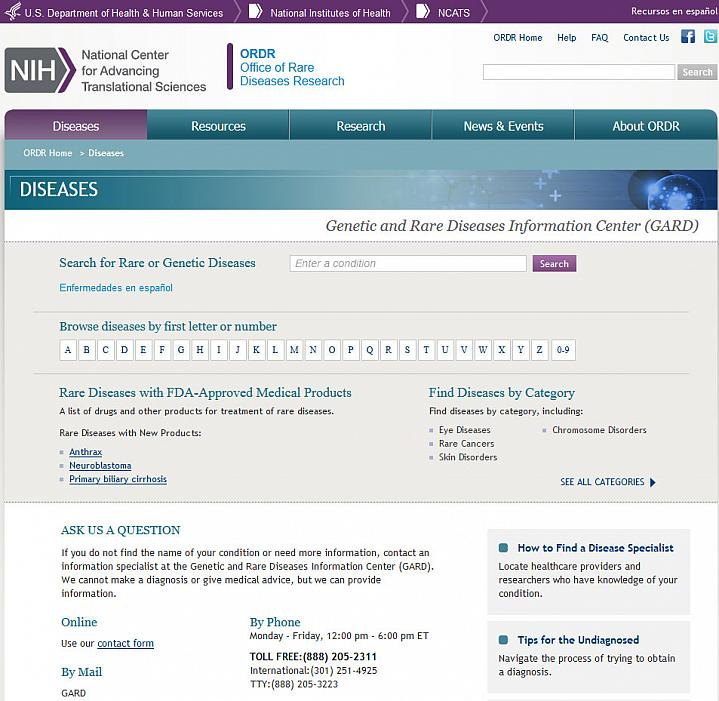 Screen capture of the homepage for the Genetic and Rare Diseases Information Center website.