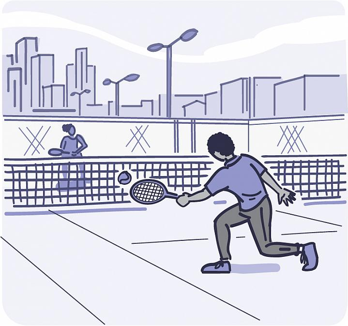 Illustration of 2 people playing tennis.